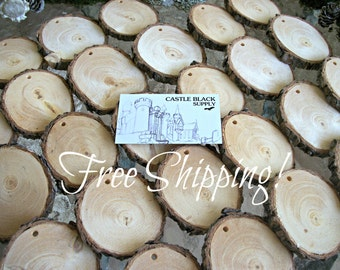 Drilled Wood Slices, Tree Branch Slices, Tree Branch Ornaments, Drilled PINE Tree Slices - Set of 50, FREE SHIPPING! Drilled Branch Slices