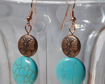 Copper Butterfly and Turquoise Bead Dangle Earrings (JLN013)