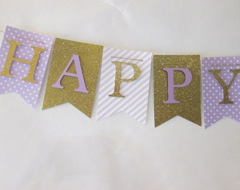 Purple and glitter gold Happy birthday banner, first birthday decorations