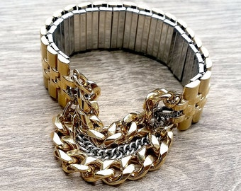 Two Tones of Fun- Vintage Stretchy Repurposed Watch Band Chain Link Accent Bracelet