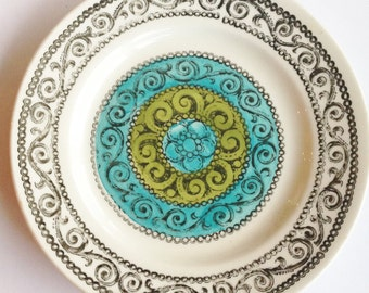 Vintage Kathie Winkle Broadhurst ironstone tea plate AGINCOURT pattern in turquoise and olive colourway