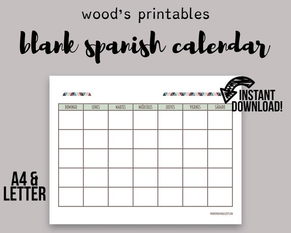 Weekly Calendar In Spanish : Blank spanish calendar printable
