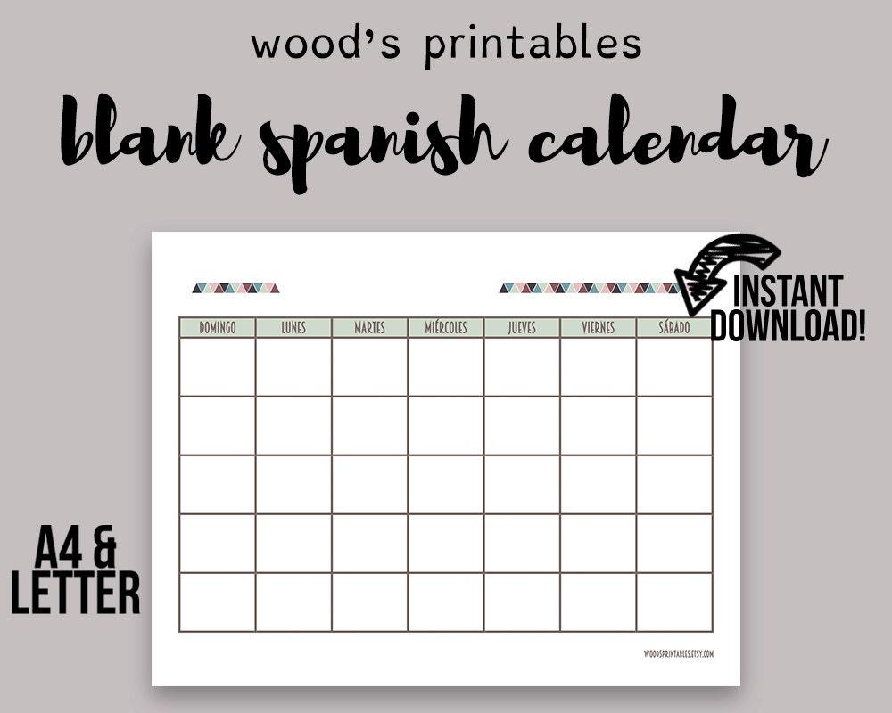 April Calendar In Spanish : Blank spanish calendar printable