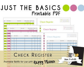 Happy Planner PRINTABLE Check Register Planner Inserts   PDF   7 X 9.25