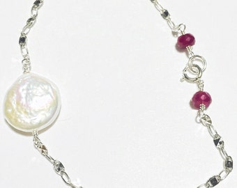 Pearl and Ruby Bracelet