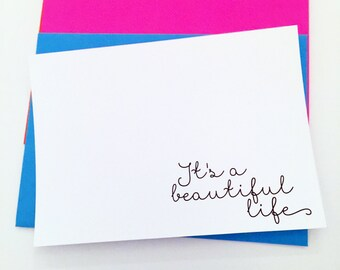 Note Cards-It's a Beautiful Life-Customized Note Cards-Personalized Note Cards