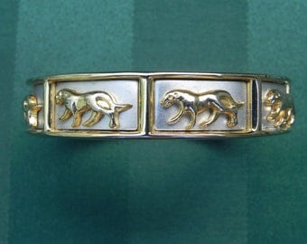Vintage Jewelry Lion, Panther, Puma, Leopard, Tiger or Wild Cat, Big Cat Panel Spring Hinge Gold and Silver Tone Cuff Bracelet