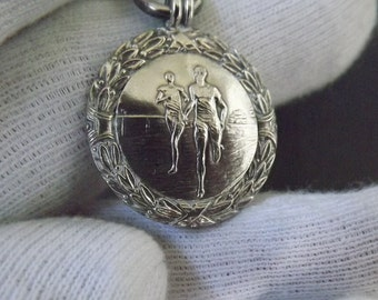 Antique Sterling Silver Watch Chain Fob Medal Athletes Hallmarked 1933 by Alexander Clark