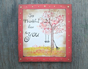 Thanksgiving Day Card - Happy Thanksgiving Day Card - Rustic Thanksgiving Card - Shabby Chic Card - Fall Card - Autumn Card