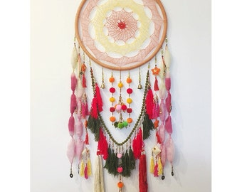 Extra Large Colourful Rainbow Dreamcatcher - Excellent Nursery Decor - CHASE THE SUN