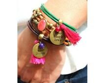 Pack pulseras de cuero Bohemian Chic