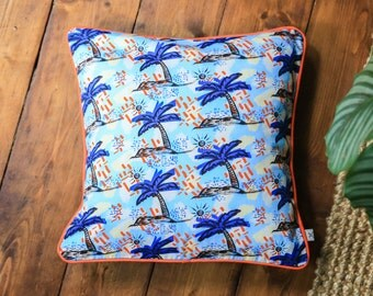 Tropical palm tree cushion