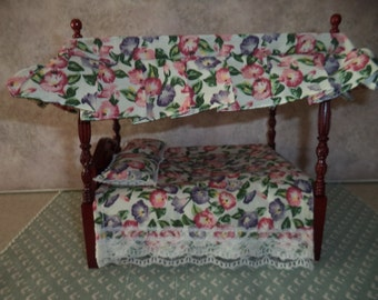 1:12 scale Dollhouse Miniature Full Size size Canopy bed