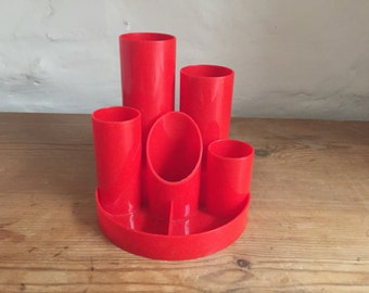 Retro red 1960s Helix pen pot