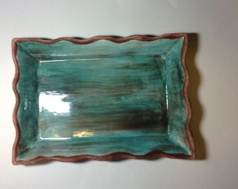 Teal casserole server with stand