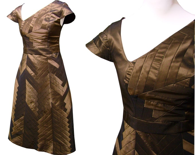 YOSEGI dress Taffeta brass brown Capsleeve patchwork art