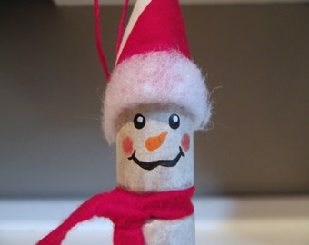 Rustic Snowman Ornament Made From an Old Wood Handle