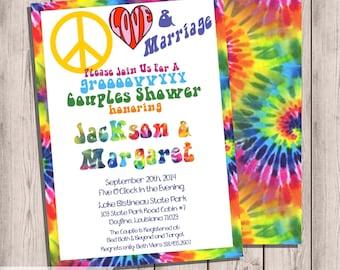 Elegant 70u0027s Seventies Coupleu0027s Shower Invitation, Bridal Shower Invitation, Tye  Dye, Hippie, 5x7