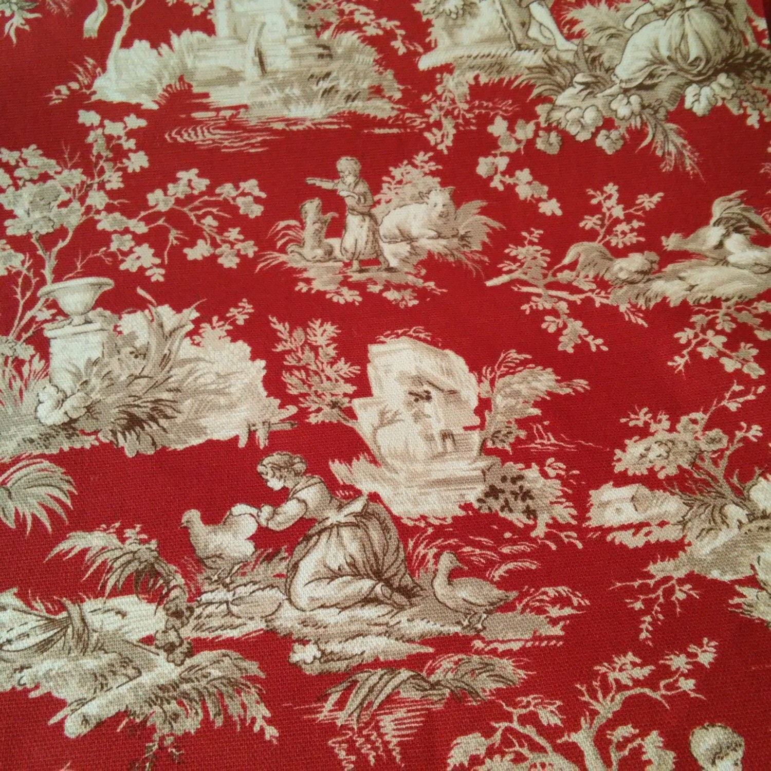 Upholstery Fabric Drapery Fabric Red Tan French Toile