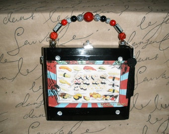 Cigar Box Purse, Sushi Themed, Rocky Patel, Black, Wooden, Zebra Lined, Authentic, Tampa- Must See!