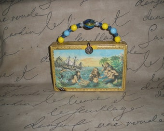 Yellow Mermaid Up Cycled Authentic Montecristo Cigar Box Purse- So Cute!