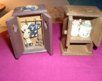 Two Vintage Miniature Closets Wooden