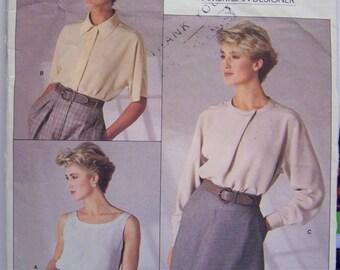 VINTAGE 1987 VOGUE 1860 Calvin KLEIN Top & Blouse Pattern sz 10 Complete