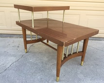 Mid Century Modern Formica Two-Tiered End Table