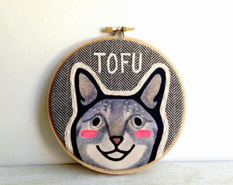Custom Cat Portrait - Custom Pet Portrait -  Custom Portraits - Hoop Art - Embroidery - Cat Portrait - Pet Gift - Pet Lover Gift