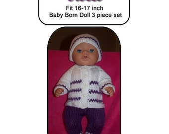 Baby Born Knitting Pattern, VIOLET fits 16 to 17 inch dolls (pattern only)