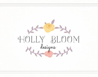 Floral Logo Stamp, Flower Logo Design, Floral Logo and Watermark, Premade Photography Logo with Floral, Pre Made Logo Template, L091