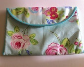 Padded Case for 13 Macbook Air Laptop Handmade Cover for 13 Inch Laptop Blue and Pink Rose Fabric