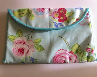 "Padded Case for 13"" Macbook Air Laptop, Handmade Cover for 13 Inch Laptop, Blue and Pink Rose Fabric"