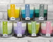 Soy Woodwick Candle Gift Set - Any 3 Glass Tumbler Layered Ombre Scented Candles from our spring range, unisex gift, Mothers Day gift