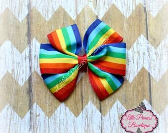 Pinwheel Hair Bow, Pinwheel Bow, Baby Bows, Rainbow Pinwheel Bow, Rainbow Bow