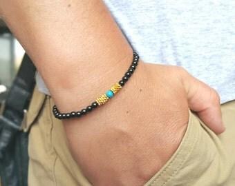 BLACK ONYX BRACELET Mens Wumens Bracelets Mens Jewelry Genuine Onyx Bracelet Beaded Bracelet Bracelet Men 6mm Beadeds Turquoise Bracelet