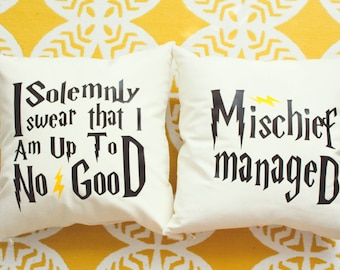 "Harry Potter ""I Solemnly Swear/Mischief Managed"" Marauder's Map Pillow Set - 2 Pillows"