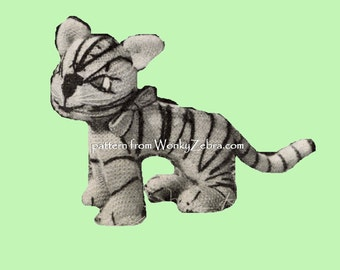Vintage Knit knitted tiger knitting Pattern PDF 566 from ToyPatternLand and WonkyZebra