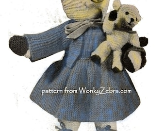 Vintage Knit Knitted Mother and Baby Bear Patterns PDF 535 from ToyPatternLand and WonkyZebra