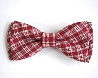 Red plaid boys bow tie, plaid bow tie, red bow tie for boys, bow tie with strap for boys,clip on bow ties for kids