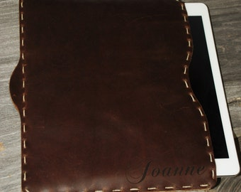 Custom Laser Engraved Premium Hand Sewn Leather iPad Sleeve Custom iPad Cover