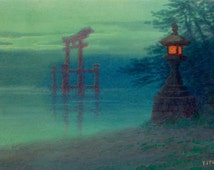 "Ito Yuhan : ""Stone Lantern on a Shore and a Torii in a Lake"" (1880-1910) - Giclee Fine Art Print"