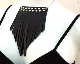 Black fringe leather necklace, leather tribal jewelry, studded black leather fringe pendant, silver studded leather, ready to ship