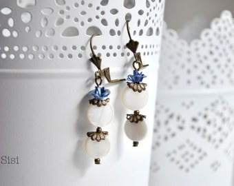 Earrings Bronze blue flower earrings
