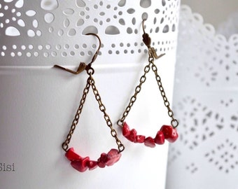 Earrings red beads on string