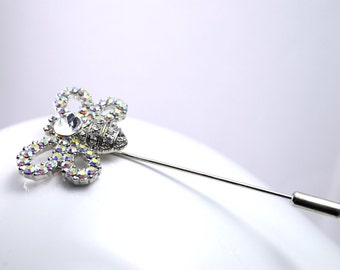 Silver brooch pin rhinestone bee