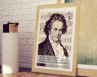 BEETHOVEN Art Print Poster * Geniuse Musician Quotes * Music is Higher Revelation Than All Wisdom and Philosophy * A3 A4 Sizes Available
