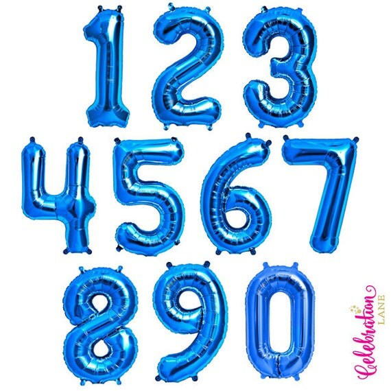 Blue Number Balloons