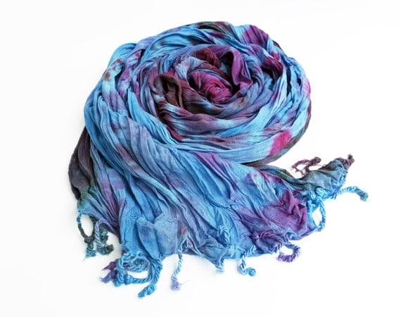 "Blue and purple crinkle scarf - rayon scarf - fringe scarf - robin egg blue, sky blue plum, purple, red violet - hand dyed - 20"" x 70"""