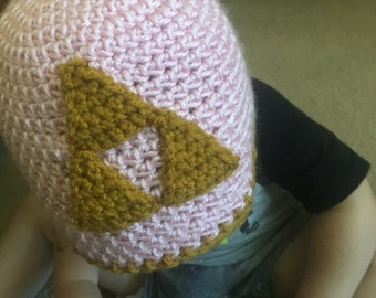 Zelda Inspired pink and gold Baby  Trifoce Beanie